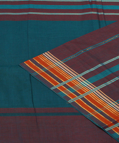 Blue Green Handloom Manamedu Cotton Saree