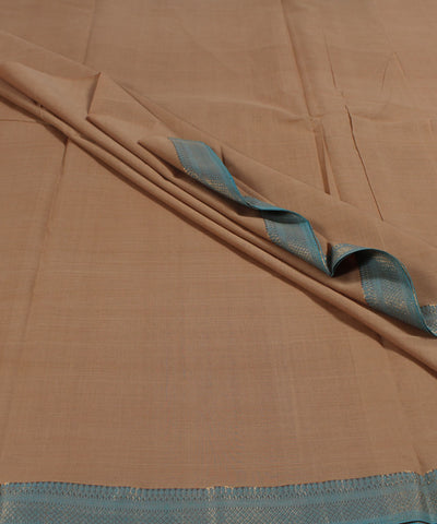 Handwoven Beige Zari Mangalagiri Cotton Fabric