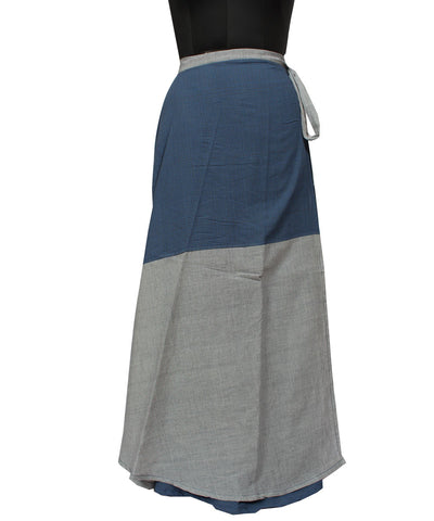 Rust Indigo Swirly Wraparound Handwoven Skirt