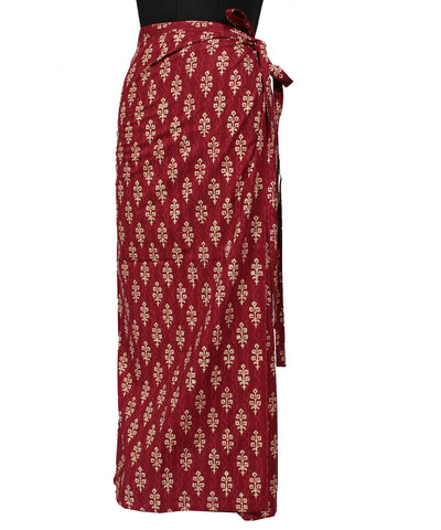 Maroon Straight Wraparound Handwoven Skirt