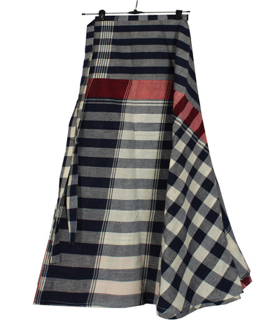 Swirly Wraparound Handwoven Checks Skirt