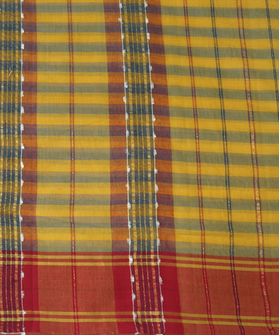 Yellow Blue Manamedu Handloom Cotton Saree