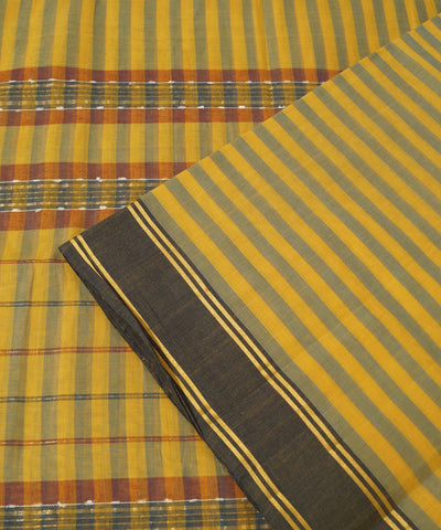 Manamedu Yellow Blue Handloom Cotton Saree