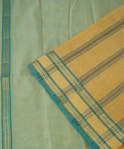 Pista Green Manamedu Handloom Cotton Saree