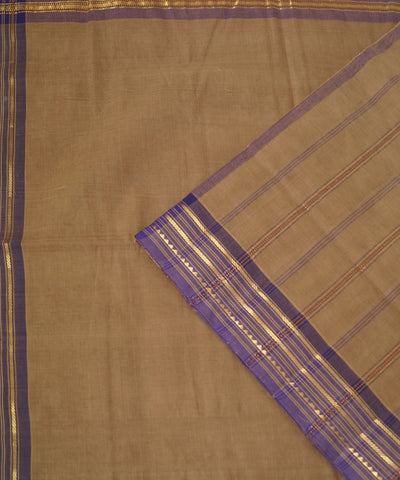 Light Brown Manamedu Handloom Cotton Saree