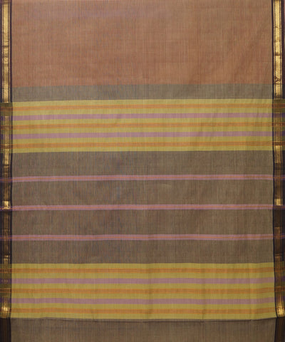 Manamedu Beige Striped Handloom Cotton Saree