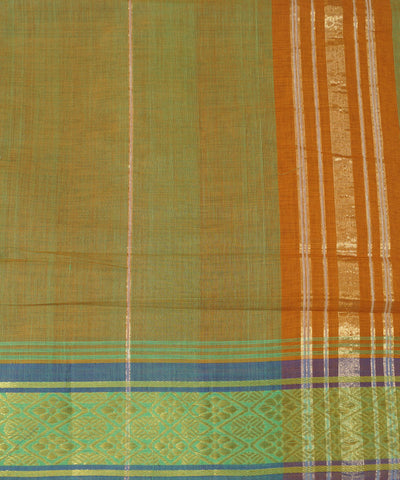 Orange Green Manamedu Handloom Cotton Saree