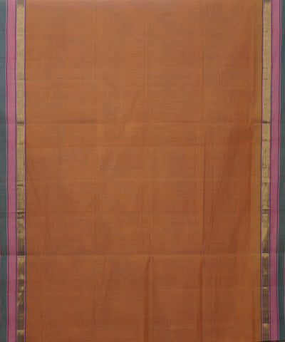 Manamedu Orange Cotton Handloom Saree