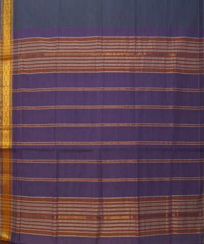 Grey Purple Manamedu Handloom Cotton Saree