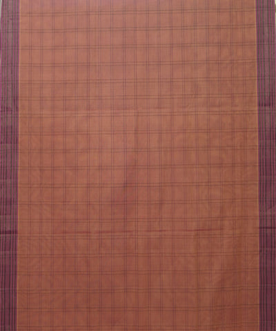 Peach Checks Manamedu Handloom Cotton Saree