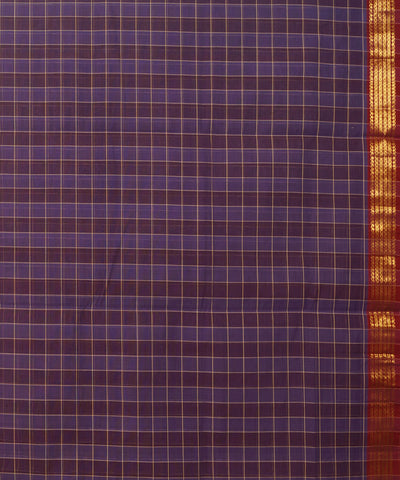 Purple Checks Manamedu Handloom Cotton Saree