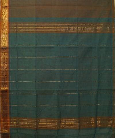Manamedu Brown Green Handloom Cotton Saree