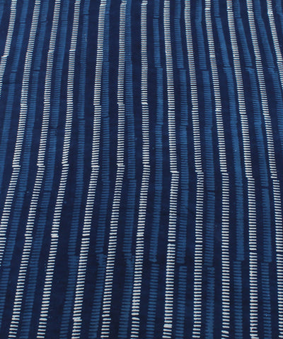 Dabu Block Stripe Print Indigo Cotton Fabric