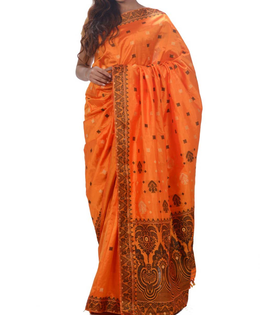 Orange Assam Handwoven Silk Saree