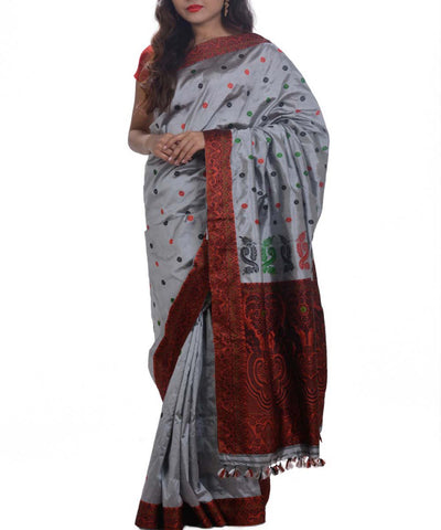 Silver Maroon Handwoven Assam Silk Saree
