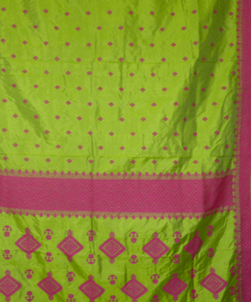 Light Green Pink Handwoven Assam Silk Saree