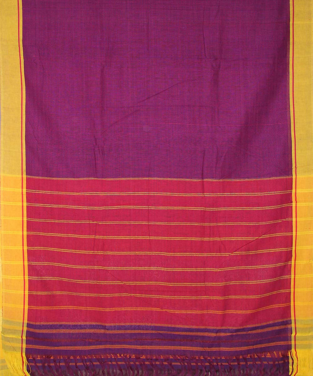 Purple patteda anchu cotton handloom saree