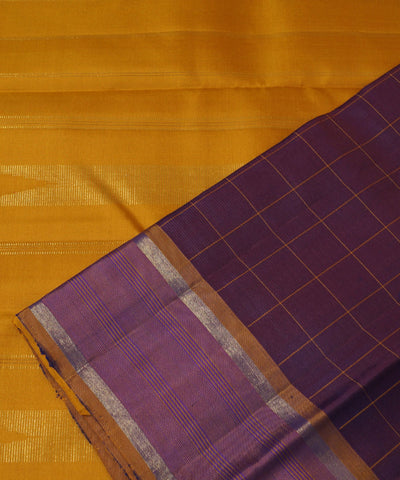 Purple Checks Handloom Arni Silk Saree
