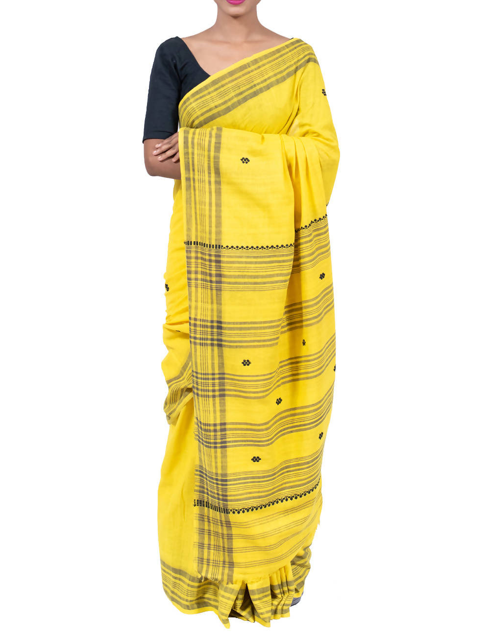 Organically Dyed Yellow Assam Handloom Eri Silk Saree