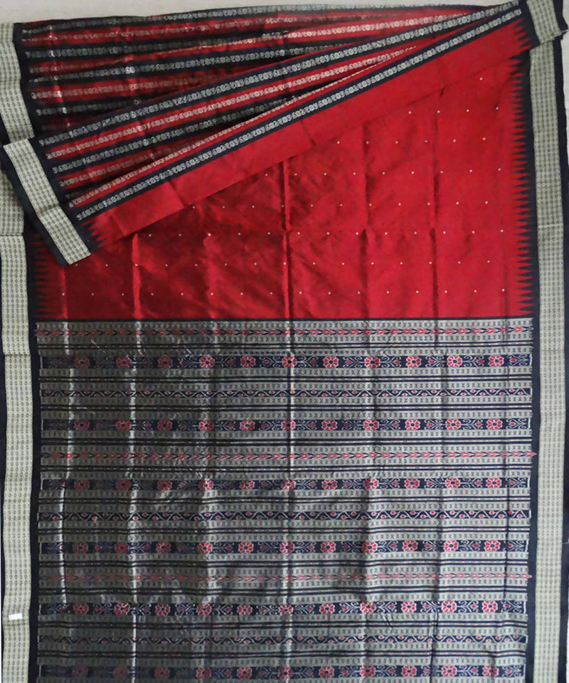 Maroon and Black Sonepur Handloom Silk Saree