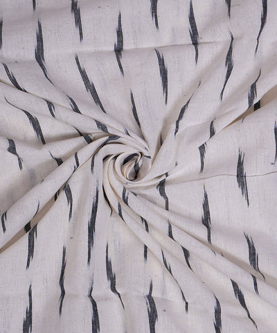 Handloom White Pochampally Ikat Cotton Fabric
