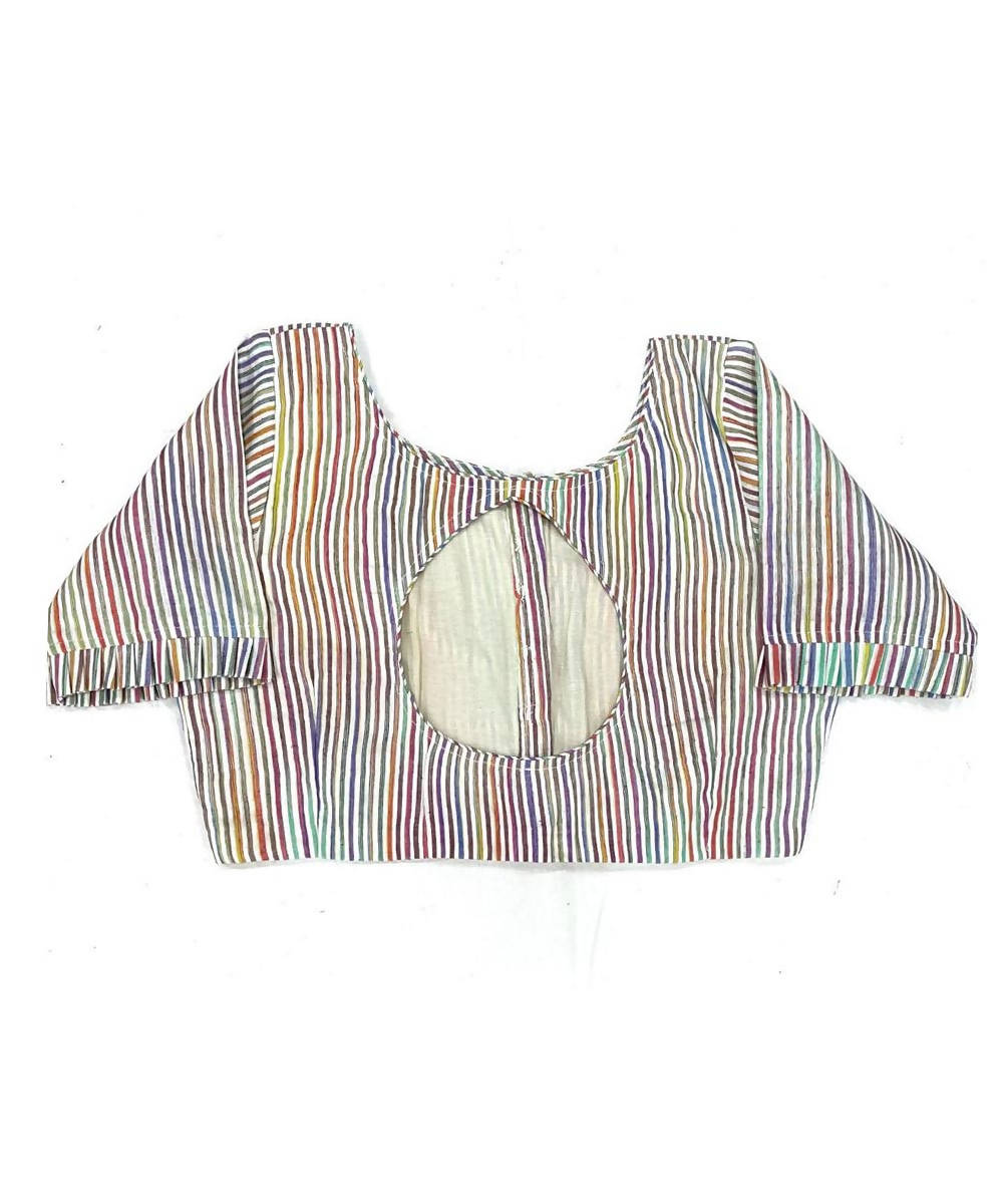 Multicolour handwoven cotton silk striped blouse