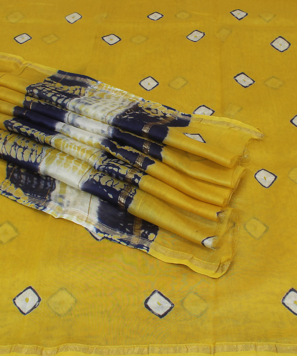 Yellow Shibori Shibori Printed Chanderi Saree