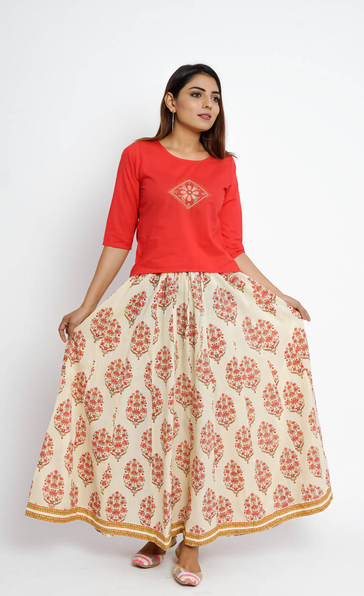 Off White Floral Hand Printed cotton Skirt