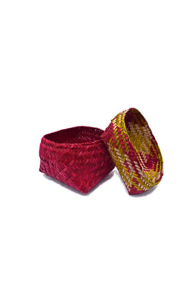 Red and Yellow Handmade Sitalpati Gift Box Set of 3
