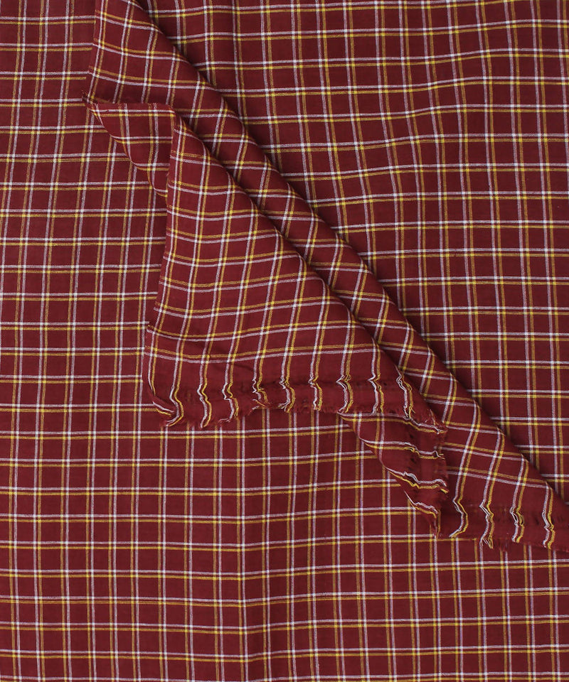 Handspun Handloom Red Check Cotton Fabric
