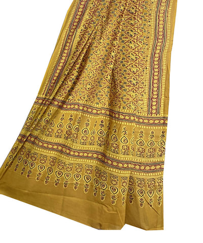 Yellow and brown mul cotton ajrakh handblock print dupatta