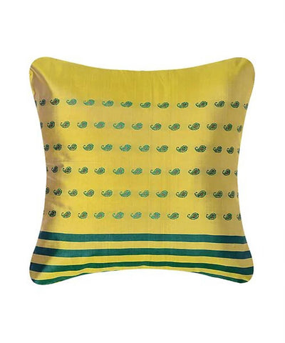 Yellow green silk baluchari cushion cover