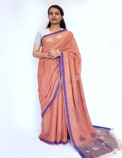 Bavanbuti Handloom Peach Orange Cotton Saree