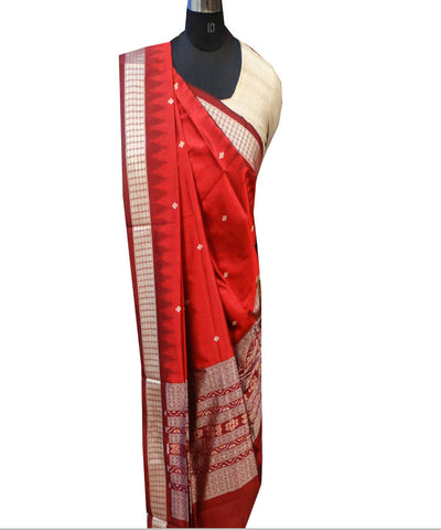 Dark Red Handloom Silk Dupatta
