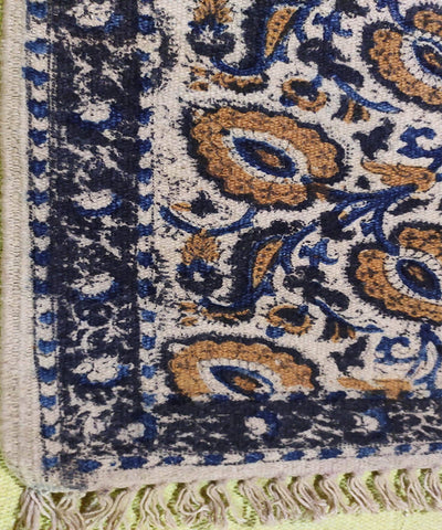 Off white and blue handwoven warangal kalamkari carpet