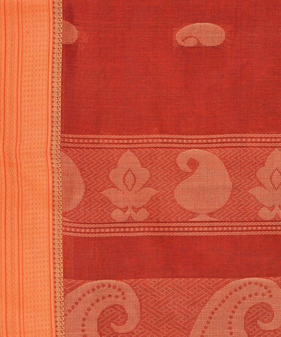Mangai Butta Terracotta Beige Handloom Kanchi Cotton Saree