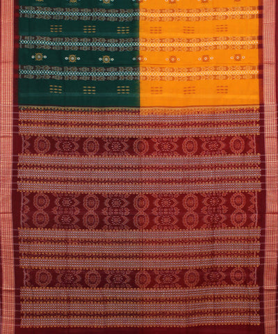 Handwoven Green Yellow Bomkai Cotton Saree
