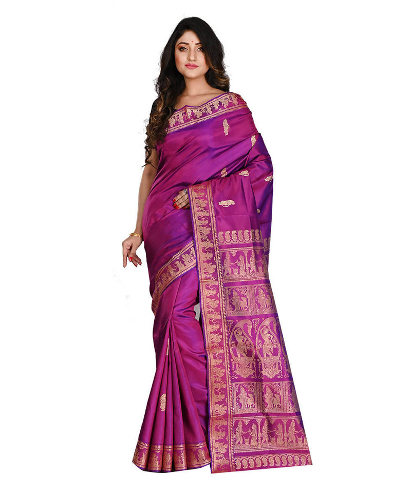 Bengal Handloom Baluchari Pink Purple Saree