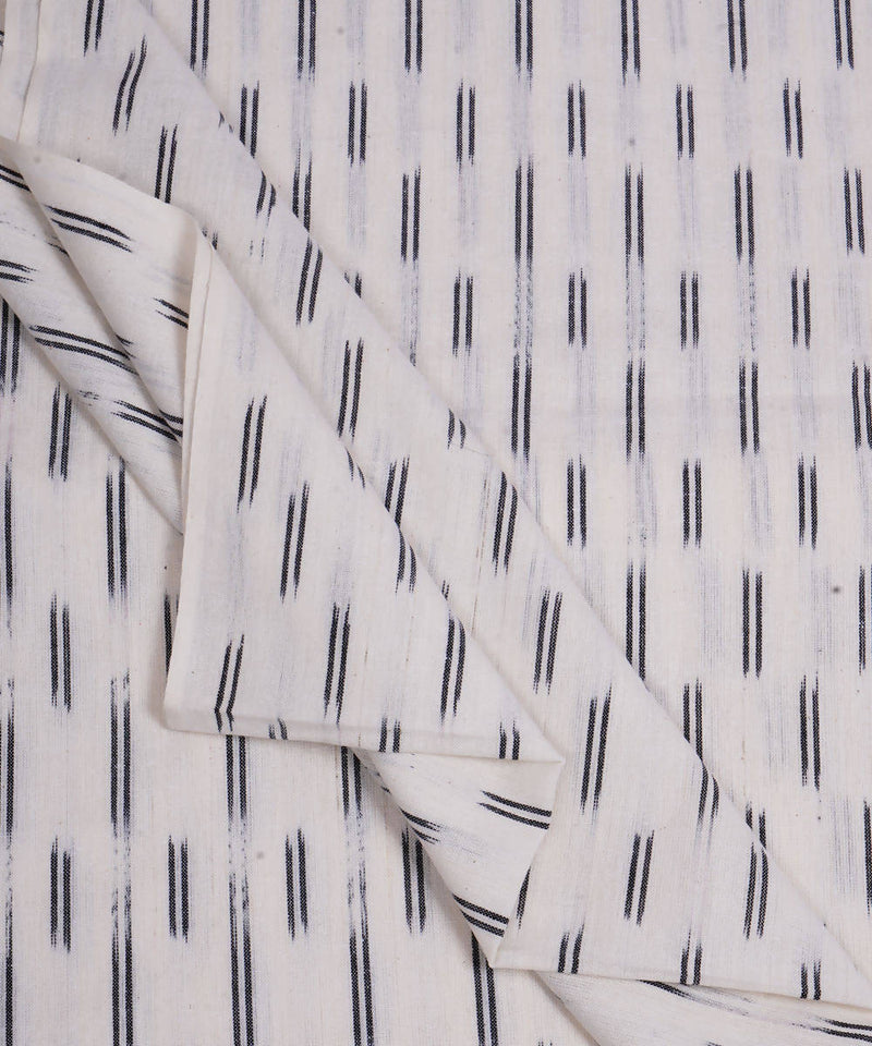 White Handloom Pochampally Ikat Cotton Fabric