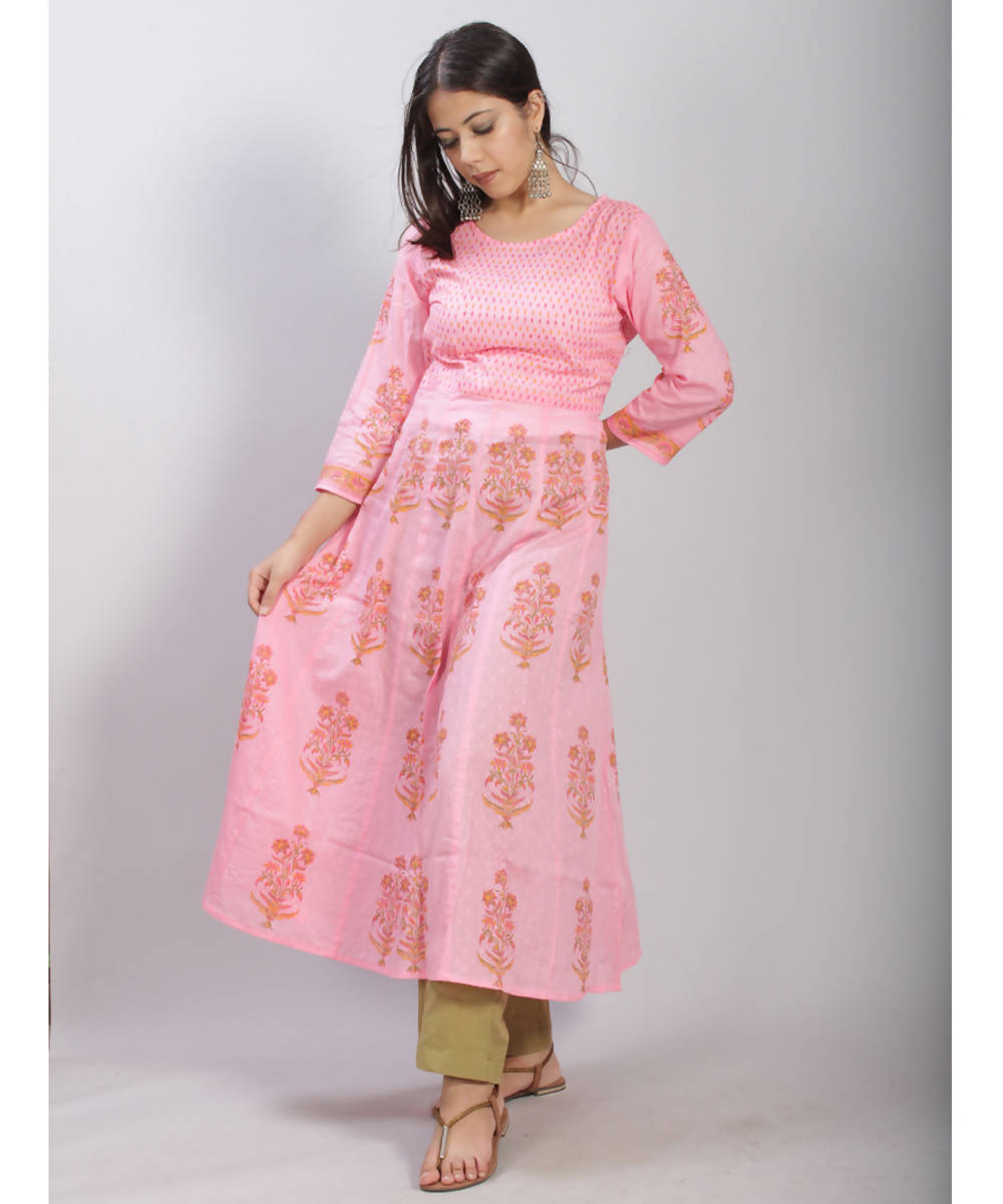 Light Pink hand block printed anarkali cotton kurti