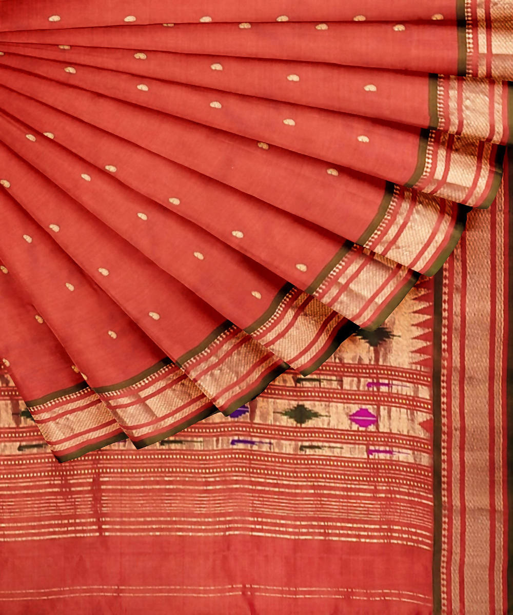 Orange handwoven paithani silk saree
