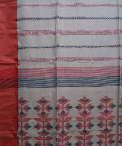 Beige handwoven cotton bengal saree