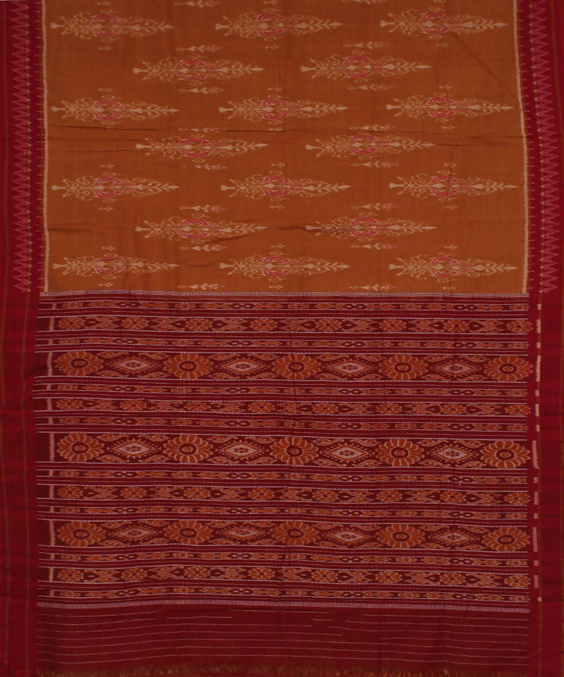 Handloom Rust Brown Sambalpuri Ikkat Saree