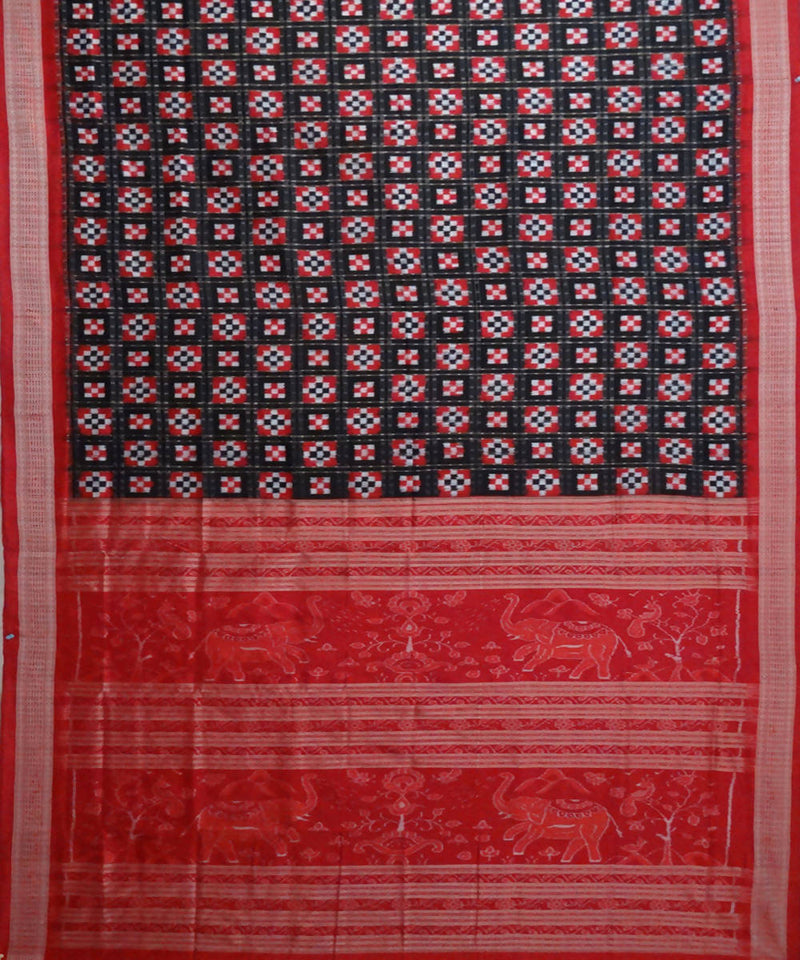 Red, black handloom pasapalli ikat silk saree