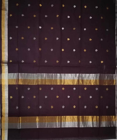 Brown with gold shimmer border Handwoven Venkatagiri cotton Saree