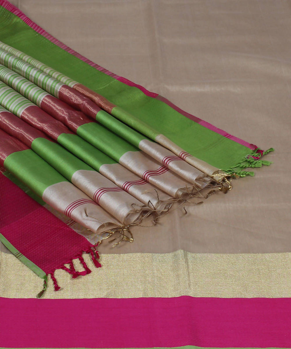 Beige Handloom Maheshwari Cotton Silk Saree