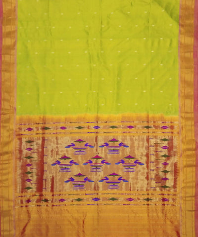 Lime Green Handwoven Paithani Silk Saree
