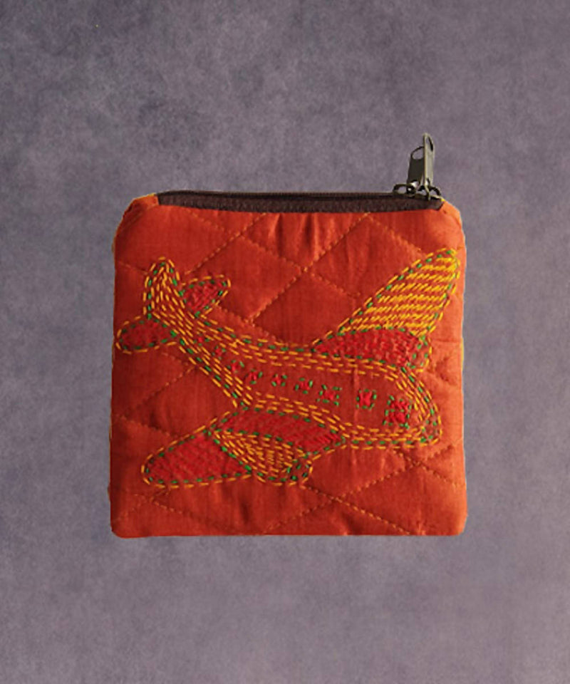 Rust hand made kantha stitch silk coin purse
