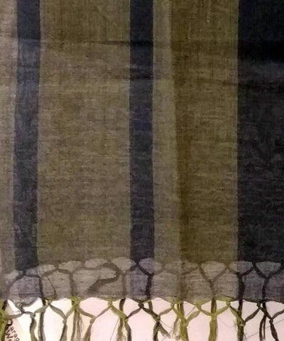 Light and Dark Green Stripes Handloom Cotton Dupatta