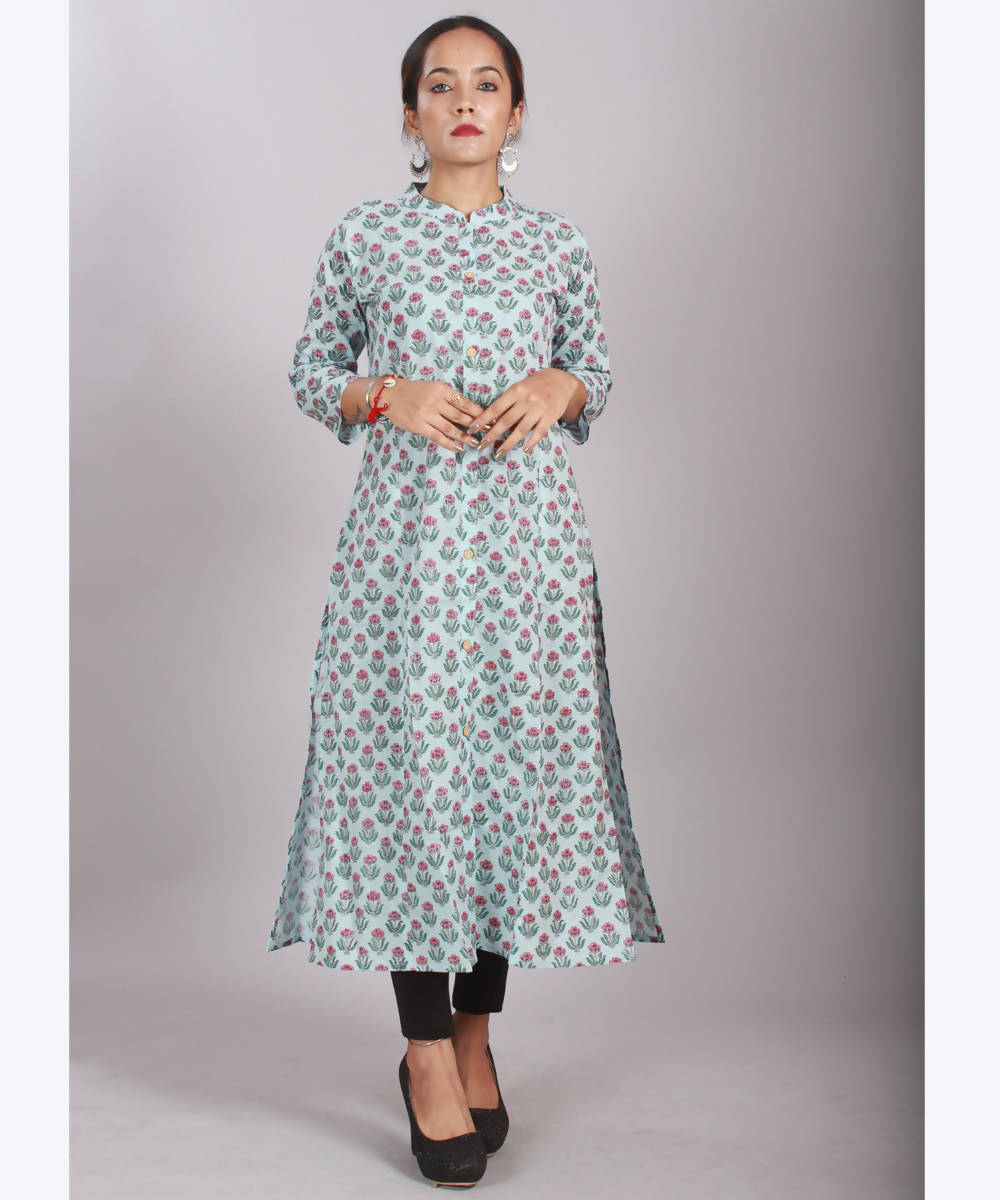 Light Blue handblock printed cotton princess cut kurti